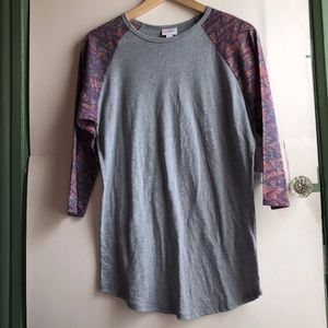 NEW LULAROE Randy Gray Purple Aztec Baseball Tee